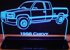 1998 Chevrolet Pickup Acrylic Lighted Edge Lit LED Sign / Light Up Plaque Chevy Full Size Made in USA