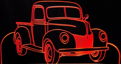 1940 Ford Pickup Truck Acrylic Lighted Edge Lit LED Sign / Light Up Plaque Full Size USA Original