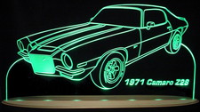 1971 Chevy Camaro Z-28 Acrylic Lighted Edge Lit LED Sign / Light Up Plaque Full Size USA Original