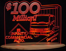 Award Trophy 100 Million SAMPLE ONLY IMAGE NOT FOR SALE Acrylic Lighted Edge Lit LED Sign / Light Up Plaque Full Size USA Original