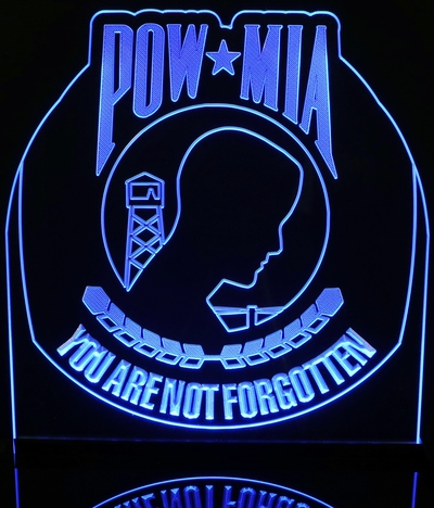 Vietnam Veterans Pow Mia War Memorial Acrylic Lighted Edge Lit LED Army Sign / Light Up Plaque