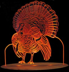 Turkey Thanksgiving Holiday Light Acrylic Lighted Edge Lit LED Sign / Light Up Plaque Full Size USA Original