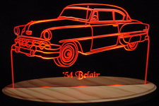 1954 Chevy Acrylic Lighted Edge Lit LED Car Sign / Light Up Plaque Chevrolet