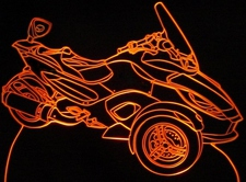 2009 Can Am Spyder Motorcycle Acrylic Lighted Edge Lit LED Bike Sign / Light Up Plaque