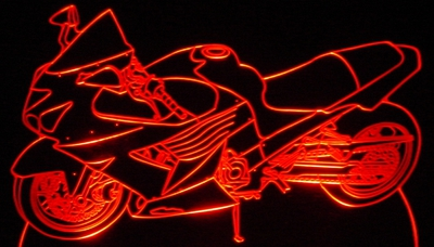 2006 Kawasaki ZX14 Motorcycle Acrylic Lighted Edge Lit LED Bike Sign / Light Up Plaque