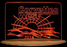 Corvettes West Trophy Award Business Company Logo Acrylic Lighted Edge Lit LED Sign / Light Up Plaque Full Size Made in USA