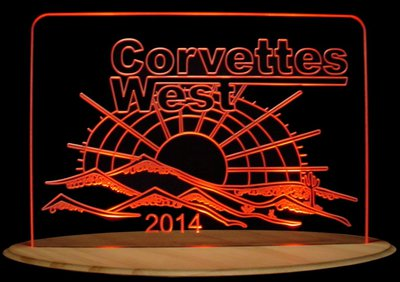 Corvettes West Trophy Award Business Company Logo Acrylic Lighted Edge Lit LED Car Sign / Light Up Plaque