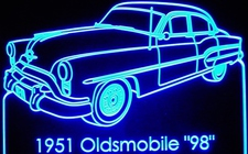 1951 Olds 98 Acrylic Lighted Edge Lit LED Sign / Light Up Plaque Full Size Made in USA
