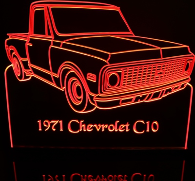1971 Chevy C10 Shortbox Pickup Truck Stepside Acrylic Lighted Edge Lit LED Sign / Light Up Plaque Full Size USA Original
