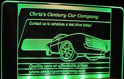 Car Lot Company Business Logo Advertising Trophy Award Acrylic Lighted Edge Lit LED Sign / Light Up Plaque Full Size USA Original