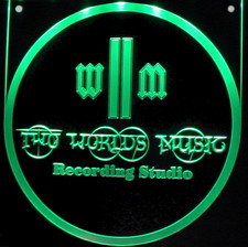 World Recording Company Business Logo Advertising Trophy Award Acrylic Lighted Edge Lit LED Sign / Light Up Plaque Full Size USA Original