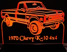 1970 Chevy Pickup Truck K10 4x4 Acrylic Lighted Edge Lit LED Sign / Light Up Plaque Full Size Made in USA
