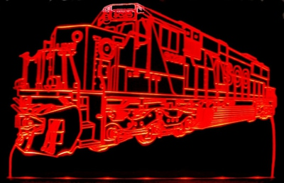 Train Engine Locomotive Advertising Business Logo Acrylic Lighted Edge Lid Led Train Sign / Light Up Plaque