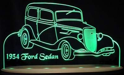 1934 Ford Sedan Acrylic Lighted Edge Lit LED Sign / Light Up Plaque Full Size USA Original