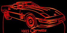 1993 Corvette Convertible Acrylic Lighted Edge Lit LED Sign / Light Up Plaque Full Size Made in USA