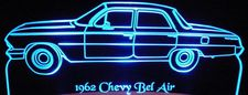 1962 Chevy Belair Acrylic Lighted Edge Lit LED Sign / Light Up Plaque Full Size Made in USA