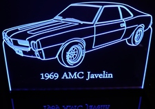 1969 AMC Javelin Acrylic Lighted Edge Lit LED Car Sign / Light Up Plaque