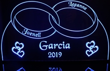 Wedding Rings and hearts centerpiece Acrylic Lighted Edge Lit LED Sign / Light Up Plaque Full Size Made in USA