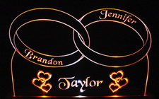 Wedding Rings and hearts Centerpiece Bride & Groom Acrylic Lighted Edge Lit LED Sign / Light Up Plaque Full Size Made in USA