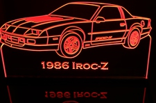 1986 Camaro IROC-Z Acrylic Lighted Edge Lit LED Car Sign / Light Up Plaque Full Size USA Original