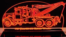 1969 Wrecker Peterbilt Holm(es) 850 Acrylic Lighted Edge Lit LED Sign / Light Up Plaque Full Size Made in USA