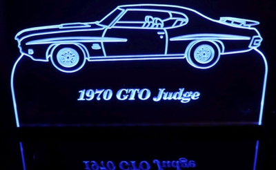 1970 GTO Judge Acrylic Lighted Edge Lit LED Sign / Light Up Plaque Full Size Made in USA