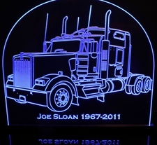 Semi Truck KW Acrylic Lighted Edge Lit LED Sign / Light Up Plaque Full Size Made in USA