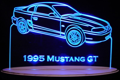 1995 Mustang GT Acrylic Lighted Edge Lit LED Car Sign / Light Up Plaque Full Size USA Original