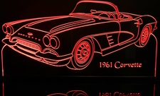 1961 Chevrolet Corvette Acrylic Lighted Edge Lit LED Car Sign / Light Up Plaque