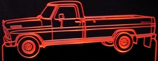 1971 F100 Pickup Truck Acrylic Lighted Edge Lit LED Sign / Light Up Plaque Full Size Made in USA