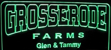 Grosserode Farms Company Business Farm Logo Advertising Acrylic Lighted Edge Lit LED Sign / Light Up Plaque Full Size Made in USA