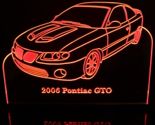 2006 Pontiac GTO Acrylic Lighted Edge Lit LED Sign / Light Up Plaque Full Size Made in USA