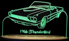 1966 Thunderbird TBird Convertible Acrylic Lighted Edge Lit LED Sign / Light Up Plaque Full Size USA Original