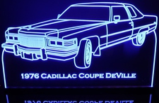 1976 Cadillac Coupe Deville Acrylic Lighted Edge Lit LED Car Sign / Light Up Plaque