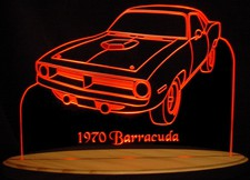 1970 Plymouth Barracuda Acrylic Lighted Edge Lit LED Car Sign / Light Up Plaque Full Size USA Original