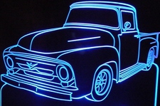 1956 Ford Pickup Truck no vent F100 LF Acrylic Lighted Edge Lit LED Sign / Light Up Plaque Full Size Made in USA