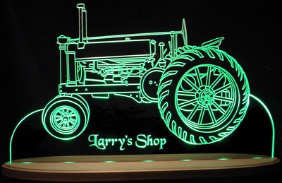 1936 JD Tractor Farm Equipment Acrylic Lighted Edge Lit LED Sign / Light Up Plaque Full Size USA Original