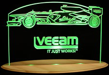 Veeam Race Car Trophy Advertising Business Logo Acrylic Lighted Edge Lit LED Sign / Light Up Plaque