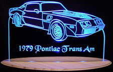 1979 Trans Am (No T-Tops) Acrylic Lighted Edge Lit LED Car Sign / Light Up Plaque Full Size USA Original