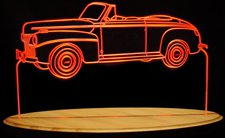 1941 Ford Super Deluxe Conv Acrylic Lighted Edge Lit LED Car Sign / Light Up Plaque USA Original