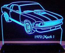 1970 Mustang Mach 1 Acrylic Lighted Edge Lit LED Car Sign / Light Up Plaque Full Size USA Original