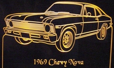 1969 Nova (not SS) Acrylic Lighted Edge Lit LED Car Sign / Light Up Plaque Full Size USA Original