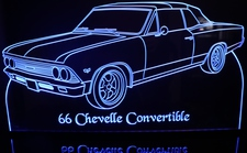 1966 Chevy Chevelle SS Convertible Acrylic Lighted Edge Lit LED Sign / Light Up Plaque Full Size USA Original