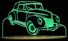 1940 Ford Deluxe Convertible Acrylic Lighted Edge Lit LED Sign / Light Up Plaque Full Size Made in USA