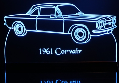1961 Chevy Corvair Monza 900 Acrylic Lighted Edge Lit LED Car Sign / Light Up Plaque Chevrolet