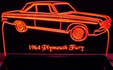 1964 Plymouth Fury Acrylic Lighted Edge Lit LED Car Sign / Light Up Plaque 64 Full Size USA Original