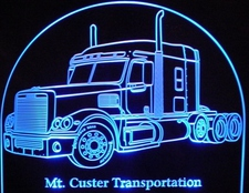 Semi Freightliner (choose your own text) Acrylic Lighted Edge Lit LED Sign / Light Up Plaque Full Size Made in USA