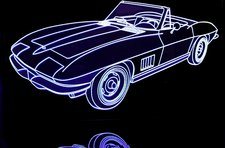 1967 Chevy Corvette Convertible Acrylic Lighted Edge Lit LED Sign / Light Up Plaque Full Size Made in USA