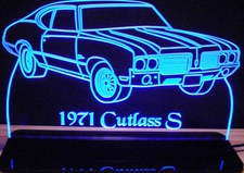 1971 Oldsmobile Cutlass S Acrylic Lighted Edge Lit LED Car Sign / Light Up Plaque
