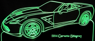 2014 Corvette Stingray Acrylic Lighted Edge Lit LED Sign / Light Up Plaque Full Size Made in USA